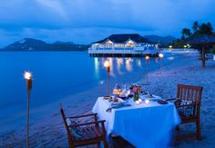 Candlelight dining on the beach is an unforgettable romantic experience. Sandals Halcyon Beach - St. Lucia