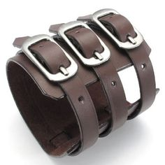 "Wide Genuine Leather  Bangle Cuff Bracelet, Punk Rock Style, Unisex Mens Womens, Fits 7"" to 8.5"", Color Brown (with Gift Bag) KONOV Jewelry,http://www.amazon.com/dp/B00DJAX7Y4/ref=cm_sw_r_pi_dp_E6gysb1GJD2NJBM3"