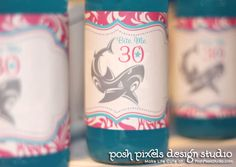 BIRTHDAY - Printable Drink Wraps - Water Bottle Labels - Hot Pink and Turquoise - Shark - DIY Bite Me Collection - by Make Life Cute. $9.50, via Etsy.