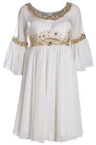Sheer Mesh Rhinestone Pleated Dress