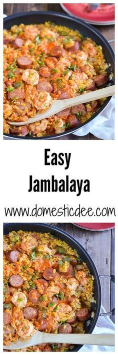 Easy Jambalaya Recipe-This easy jambalaya recipe is a classic dish of Louisiana. It contains turkey smoked sausage, shrimp, and rice with a ton of flavor all while still being an easy jambalaya recipe (Sausage Rice Recipes) Cajun Recipes, Sausage Recipes, Rice Recipes, Seafood Recipes, New Recipes, Dinner Recipes, Cooking Recipes, Healthy Recipes, Haitian Recipes