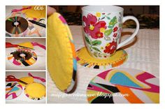 Pracownia Milgra: Podstawki - modny recykling Mugs, Tableware, Diy, Dinnerware, Bricolage, Tumblers, Tablewares, Do It Yourself, Mug