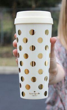 Kate Spade Thermal Mug - Gold Dots