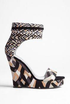 Dkny Corinne Runway Weave Ankle Strap Print Wedge in Multicolor (multicoloured) | Lyst