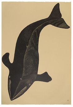 Amazing print of Aravialuk (Great Big Whale) by Kananginak Pootoogook, RCA from the Cape Dorset 2003 Collection Big Whale, Whale Art, Native Art, Native American Art, Illustrations, Illustration Art, Fisher, Historia Natural, Inuit Art