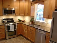 Kitchen Cabinet Design L Shape kitchen layout idea, but fridge where dishwasher and upper cabinet