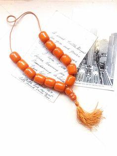 Antique Citrus Orange Bakelite Prayer Beads by MyVintageSupplies