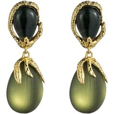 Alexis Bittar Allegory Gold Pave Vine Drop Post Earring ($151) ❤ liked on Polyvore featuring jewelry, earrings, accessories, green, post earrings, gold flower earrings, art nouveau earrings, green earrings and alexis bittar earrings