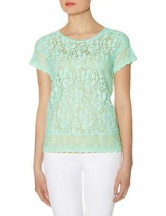 Mixed Lace Layering Tee from THELIMITED.com