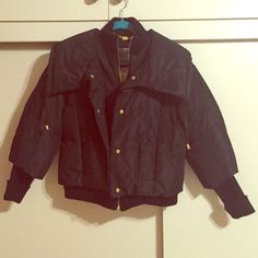 Cute A.B.S Sliver Label Black Parka Jacket Size S