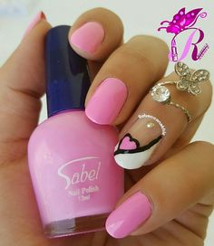 هذه #أظافر اليوم  Pink Love Nails inspired by @gnails57 using Sabel #60