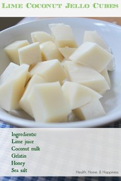 Phase (use stevia) Coconut-Lime Finger Jello (real food, dairy free, GAPS free, food dye free) Gelatin Recipes, Jello Recipes, Snack Recipes, Dessert Recipes, Paleo Jello, Gelatin Ingredients, Jello Desserts, Lime Recipes, Gaps Diet Recipes