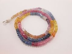 "Natural Fine Multi Sapphire Faceted Rondelle Beads Necklace 16"" long 3.5mm-4mm #GemstoneTopper"