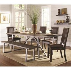 Genoa Rustic Table and Chair Set with Dining Bench