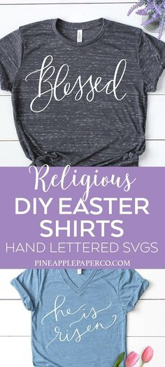 DIY Religious Easter Shirts and Easter Decor with a Religious Easter SVG Cut File Bundle with Hand Lettered SVG Designs. Make Christian T Shirts for Easter for Adults, Kids, and Toddlers by Pineapple Paper Co. #cricut #cricutmade #silhouette #svg #svgbundle #eastershirt #eastersvg #easterdecor #religious #blessed #christian #diytshirts #diyshirts
