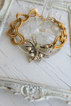 Vintage Rhinestone Pearls and Brass Bracelet~