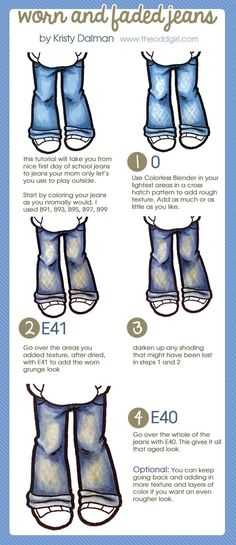Worn and Faded Jeans: Coloring Tutorial | http://www.theoddgirl.com/2013/07/worn-and-faded-jeans-coloring-tutorial/