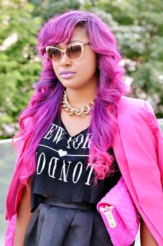 Pink and purple dyed hair