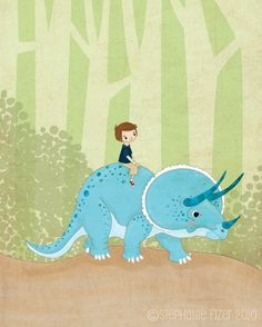 """LOVE!!! I just received this in the mail for Jude. Triceratops is one of his favs and my parents are giving him a kota the triceratops for his birthday which he can """"ride"""" on like this pic. When I saw this I knew I had to have it! So fun! A Boy and His Dinosaur Stephanie Fizer"""