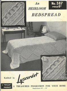 Lyscordet 587 counterpane bedspread vintage knitting by Ellisadine, £1.15