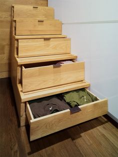 stairs to a bunk bed, that are also drawers!