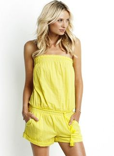 Lightwieght 100% cotton romper with drawstring bust, shirred waist and front pockets by Seafolly Swimwear, $88.00