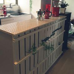女性で、2DK、その他の収納棚/DIY/北欧/すのこリメイク/すのこ リメイク/キッチンカウンター…などについてのインテリア実例を紹介。「すのことカラーボックスでキッチンカウンター」(この写真は 2015-07-28 16:40:53 に共有されました)