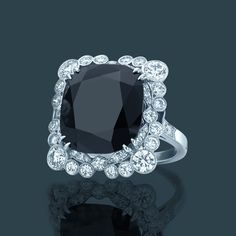 Diamond and black onyx ring. From The Great Gatsby Collection, jewelry inspired by Baz Luhrmann's film in collaboration with Catherine Martin.