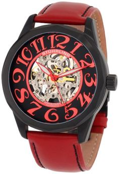 Stuhrling Original Men's 227A.3355H1 Classic Traveler Viola Automatic Skeleton Black Dial Watch - Black PVD plated round shaped case with black satin finish bezel Protective Krysterna crystal on front and back Black skeletonized dial with red metallic arabic numerals Red genuine leather strap with black stitching and black clasp Water resistant to 165 feet (50 M): suitable for swimming and showering