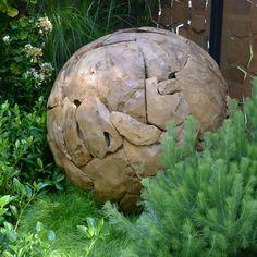 Teak Ball - Large Garden Accessories, Water Features, Natural Stones, Teak, Garden Sculpture, Contemporary, Outdoor Decor, Image, Design