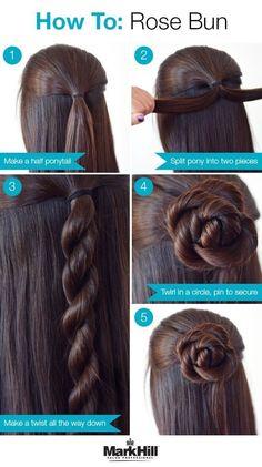 26 Amazing Bun Updo Ideas for Long & Medium Length Hair Easy step by step hair tutorial: rose bun Rose Bun, Chignon Rose, Bun Updo, Hair Updo, Rose Hairstyle, Updo Diy, Bun Braid, Fringe Hairstyle, Diy Braids