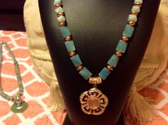 Rose gold and blue-green Amazonite necklace with magnetic closure.