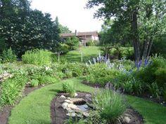 Grass pathways through perennial garden. MANITOBA GARDENS: Featured Garden-The Garden of Ede'n Gerald (2004)