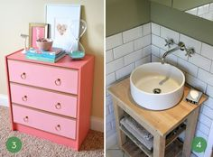 Not the pink dresser--the sink.  It's a kitchen trolley from IDA that was used as the base for a sink!  I like this. l10 Fantastic IKEA Hacks