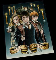 Harry Potter Tattoo Flash by ParlorTattooPrints on Etsy