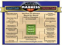 The field of 16 sweet Elgin eateries in Downtown Madness 2012: Downtown vs. Crosstown. Vote for your faves round-by-round until a Champion is crowned at www.DowntownElgin.com