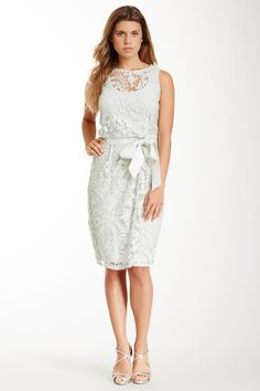 Adrianna Papell Sleeveless Lace Belted Sheath Dress | Nordstrom Rack