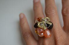 Cute ring Handmade Statement Ring Semi precious stone by MiluStore