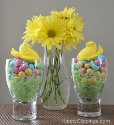 Spring apothecary jar fillers Could make a cute Easter table