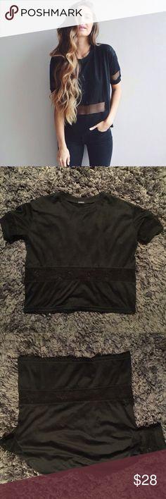 Brandy Melville black mesh shirt Mesh details. NWOT. Brandy Melville Tops Tees - Short Sleeve