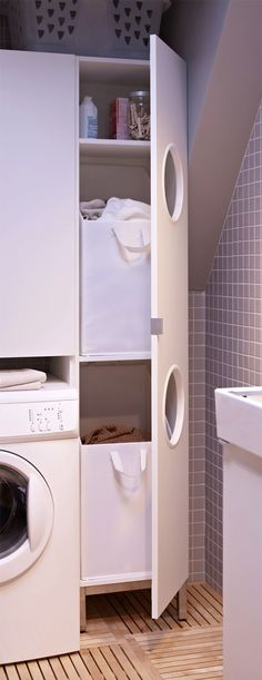Wasruimte makeover! - Inspiraties - ShowHome.nl Ikea Lillangen, Ikea Hack, Mudroom, Washer, Room Inspiration, Decoration, Laundry Room, Sweet Home, New Homes