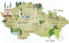 Czech republic illustrated map for ABTA magazine, woodland colours, warm palette Republic Symbol, European Map, Polish Folk Art, Travel Maps, Travel Posters, Map Design, Cartography, Pictures To Draw, Czech Republic