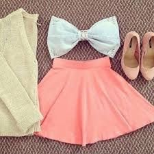 A bow top with a beige cover up and a coral skirt. Cute Summer Outfits, Girly Outfits, Cute Outfits, Summer Clothes, Spring Outfits, Cute Fashion, Teen Fashion, Womens Fashion, Fashion Trends