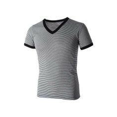 Mens Casual V-Neck Small Striped Short Sleeve Tee Shirt (TV1001) found on Polyvore