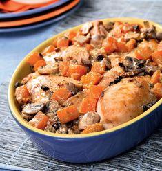 Курица с тыквой и грибами Pot Roast, Food And Drink, Meat, Chicken, Pumpkins, Ethnic Recipes, Carne Asada, Roast Beef, Pumpkin