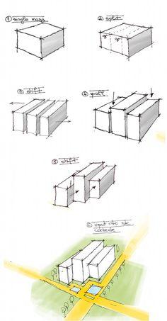 Progression of simple design process from geometric shape architecture diagram
