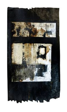 Black Void 3  Painting in enamel, acrylic and oil on distressed tarred asphalt mounted on white painted wood board.  Inspired by the reflection of light on windows in New York skyscrapers at night  Size of painting: 19.8w x 36.75h inches Size of mount board: 24w x 40h inches  Not framed but a simple black frame may suit the work  http://www.fearnfineart.moonfruit.com @SaatchiArt #LoveArt #saatchiart