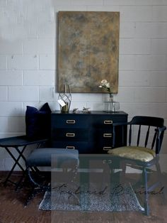 """""""One Dark Mid Century Evening"""" Collection by Taylored Revival 2016 #annie #sloan #chalk #paint #napoleonic #blue #graphite #mid #century #chalkpaint #revival #gold #gilding #wax #stool #chair #tray #dresser"""