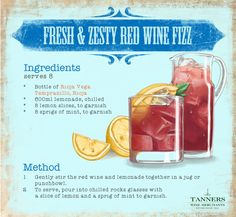 Fresh & zesty red #wine fizz: Distinctly #Latin in flavour and appearance, this #Mediterranean treat is reminiscent of foreign travel making it the perfect drink to warm up for your #summer holiday!