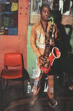 Fela Kuti playing the sax
